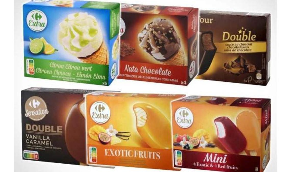 Algunas variedades de helados de la marca Carrefour retirados.