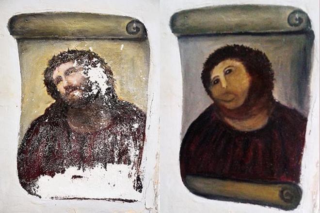 Este montaje fotográfico remitido por el Centro de Estudios Borjanos muestra el fresco de Ecce Homo, antes y después de la restauración llevada acabo por la artista amateur Cecilia Giménez. El incidente fue 'trending topic' en Twitter el miércoles.