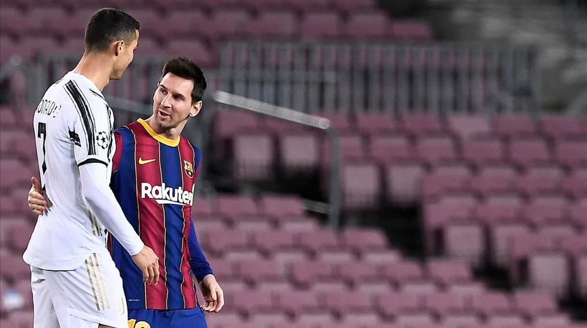 Cristiano Ronaldo y Messi, en el Barça-Juventus del Camp Nou.