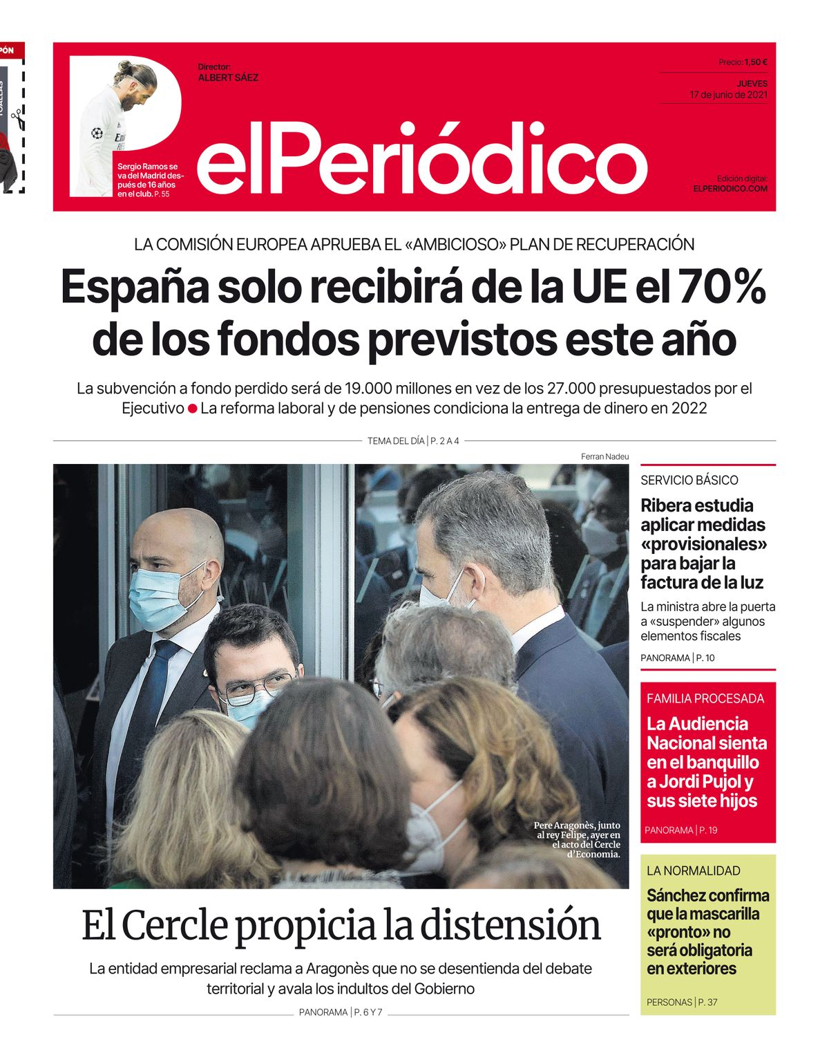 La portada de EL PERIÓDICO del 17 de junio de 2021