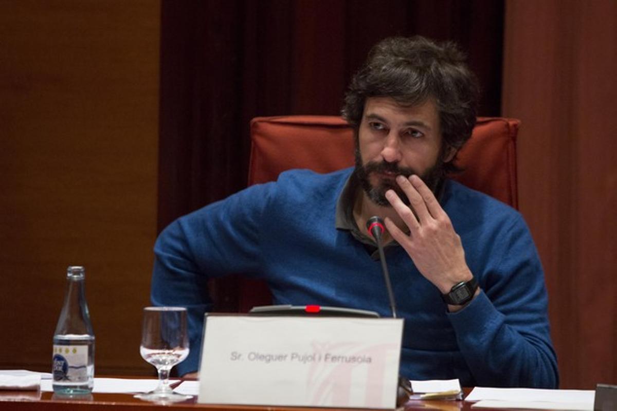 Oleguer Pujol, durante su declaración en el Parlament, el pasado marzo.