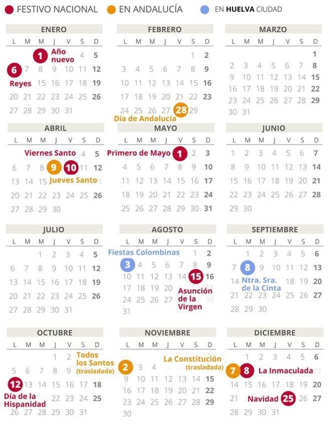 Calendario laboral de Huelva del 2020.