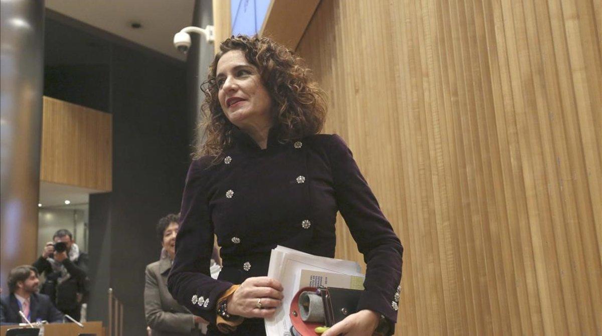 La ministra de Hacienda, María Jesús Montero, en la presentación del proyecto de ley de Presupuestos en el Congreso de los Diputados.