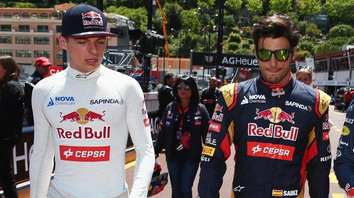 Max Verstappen y Carlos Sainz, juntos en sus tiempos jóvenes en Red Bull.