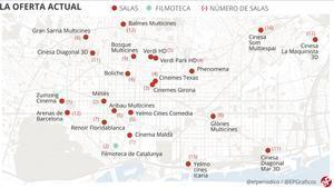 Mapa interactivo de la gran extinción en BCN: los cines que había en 1980 y los que hay ahora
