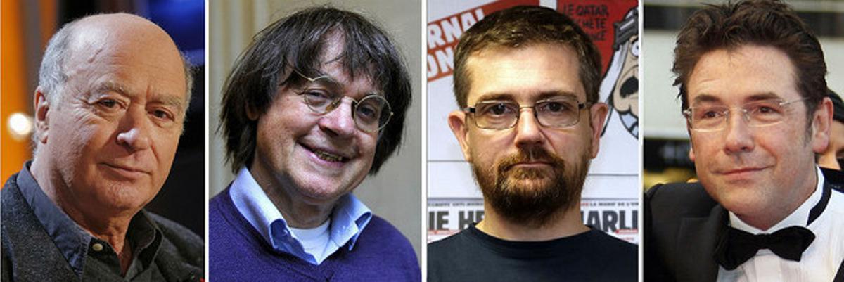 De izquierda a derecha, los dibujantes de 'Charlie Hebdo' Georges Wolinski, Jean Cabut (alias Cabu), el director Stéphane Charbonnier (alias Charb) y Bernard Verlhac (alias Tignous).