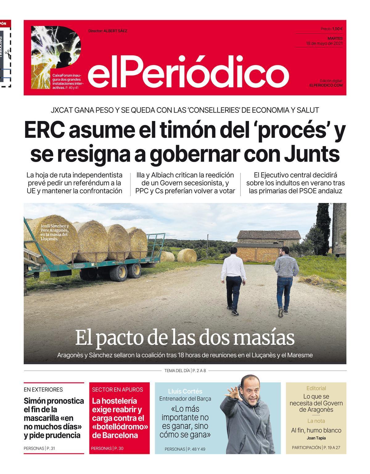 La portada de EL PERIÓDICO del 18 de mayo de 2021
