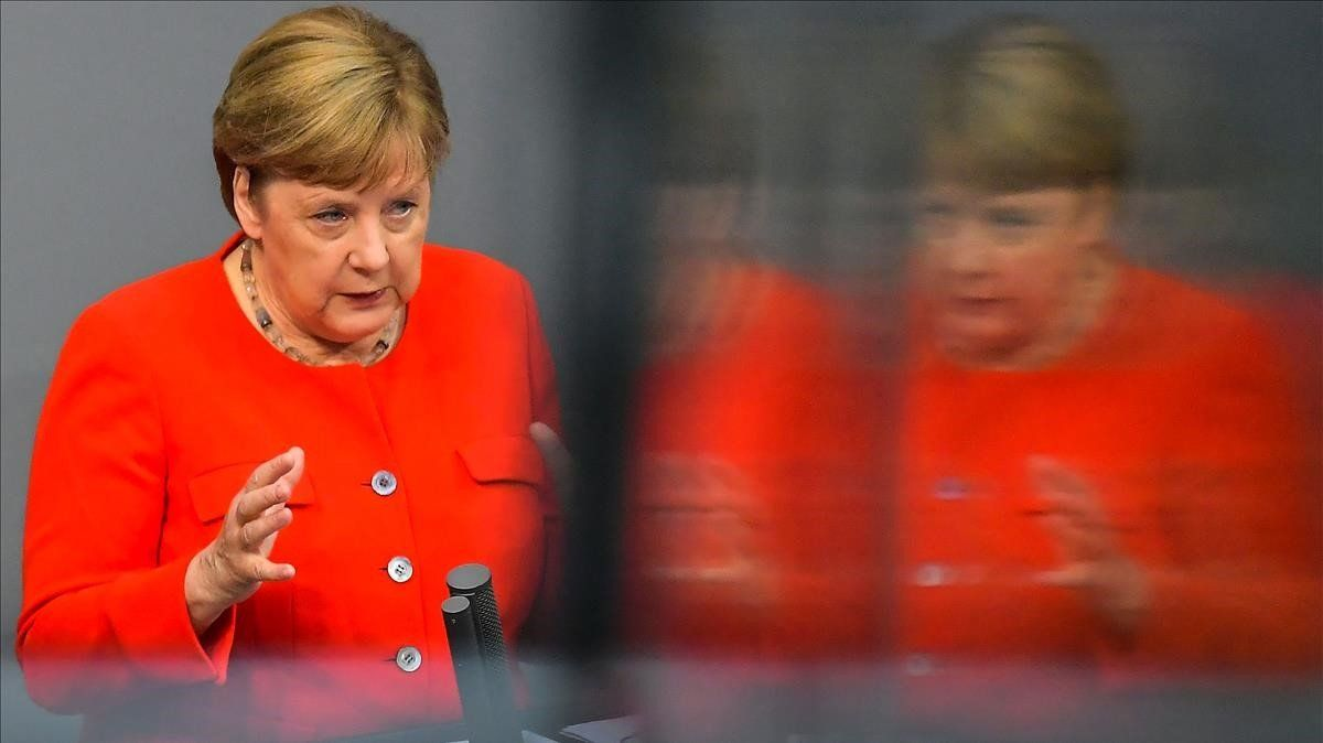 Merkel durante su intervenciónhoy en el Palamento alemán.