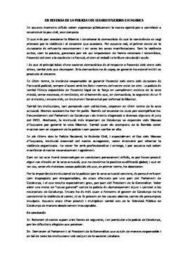 Manifiesto en defensa de los Mossos