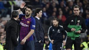 Valverde y Suárez en el partido de Copa ante el Madrid.