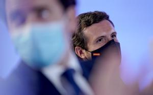 Pablo Casado, el 14 de junio en Madrid, en la presentación de la convención que el PP hará en octubre.