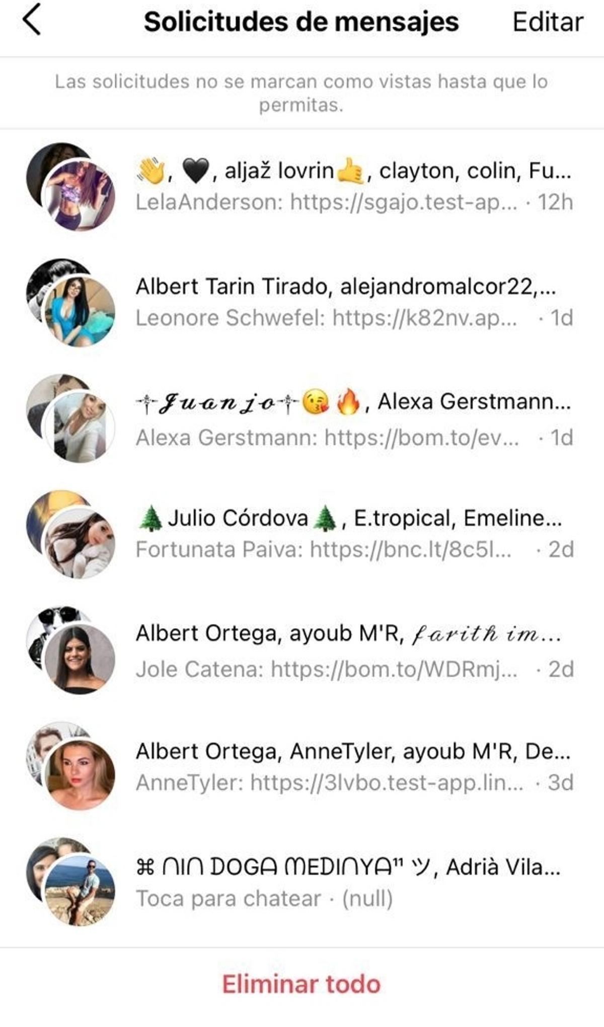 Captura de pantalla de mensajes de perfiles falsos en instagram