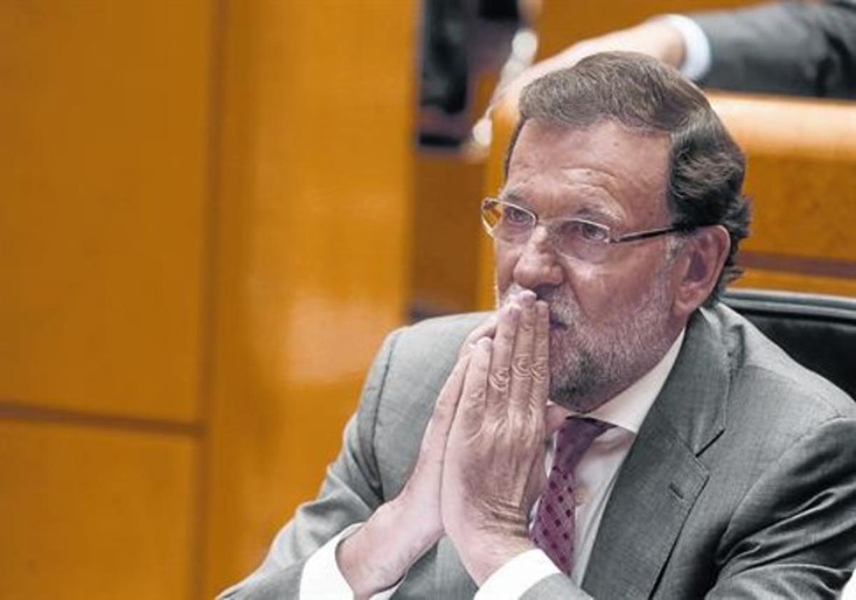Mariano Rajoy, ayerdurante su comparecenciaen el Senado.