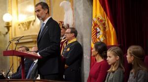 Felipe VI, durante su intervención en el Congreso.
