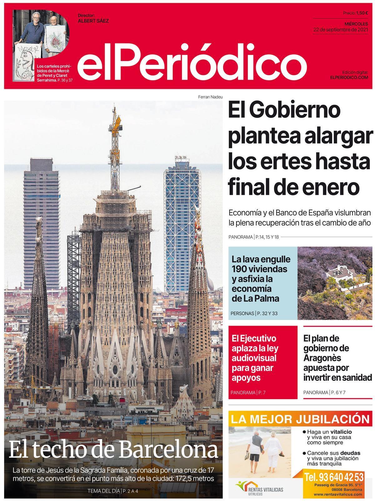 La portada de EL PERIÓDICO del 22 de septiembre del 2021