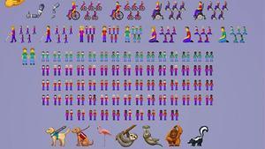 Algunos de los 230 nuevos emoticonos que entran en vigorel 5 de marzo del 2019.