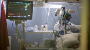 La 'uci covid' del Hospital del Mar, el 8 de enero.
