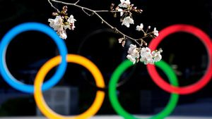 Anillos Olímpicos en Tokio.