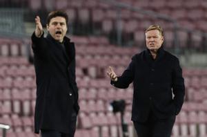 Pochettino y Koeman, en el partido del Camp Nou.