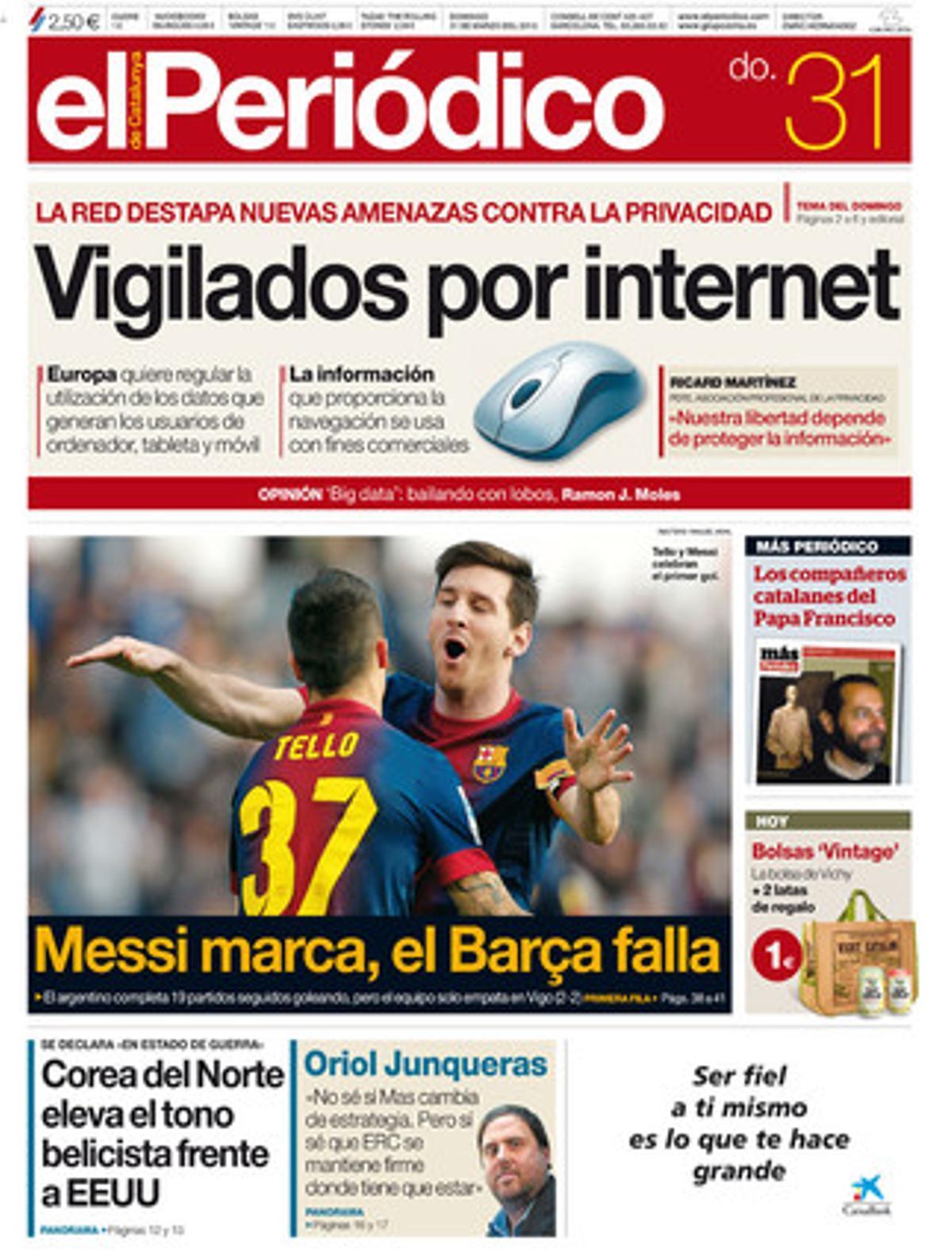 La portada de EL PERIÓDICO (31-3-2013).
