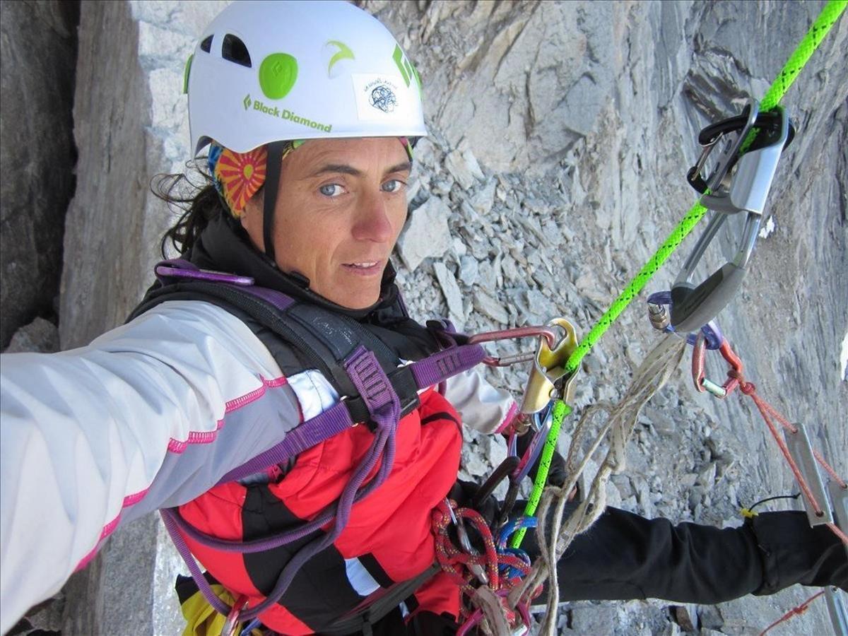 Sílvia Vidal, durante la apertura de la vía 'Un pas més' en Alaska, el pasado julio.