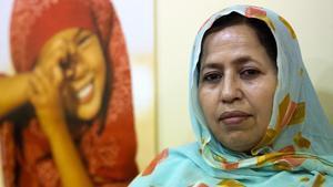 Jira Bulahi, delegada saharaui en España, fotografiada en la sede del Polisario en Madrid.