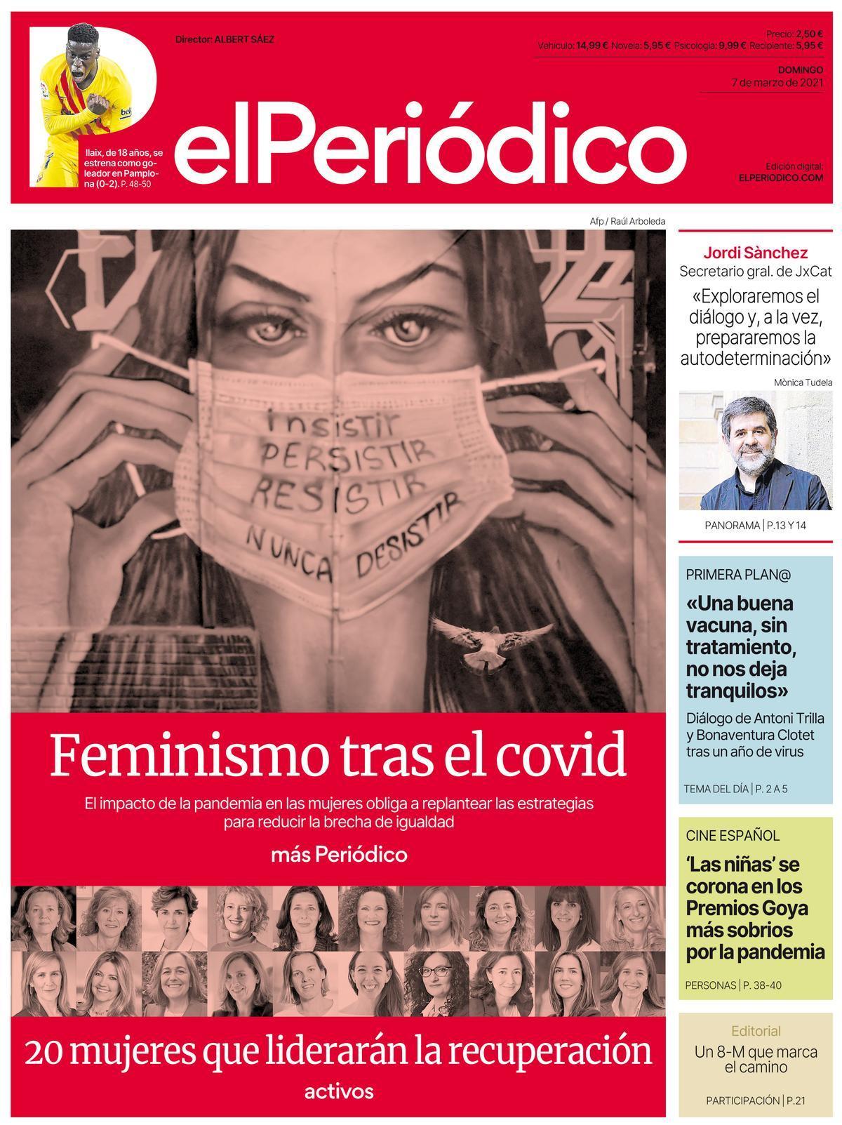La portada de EL PERIÓDICO del 7 de marzo de 2021