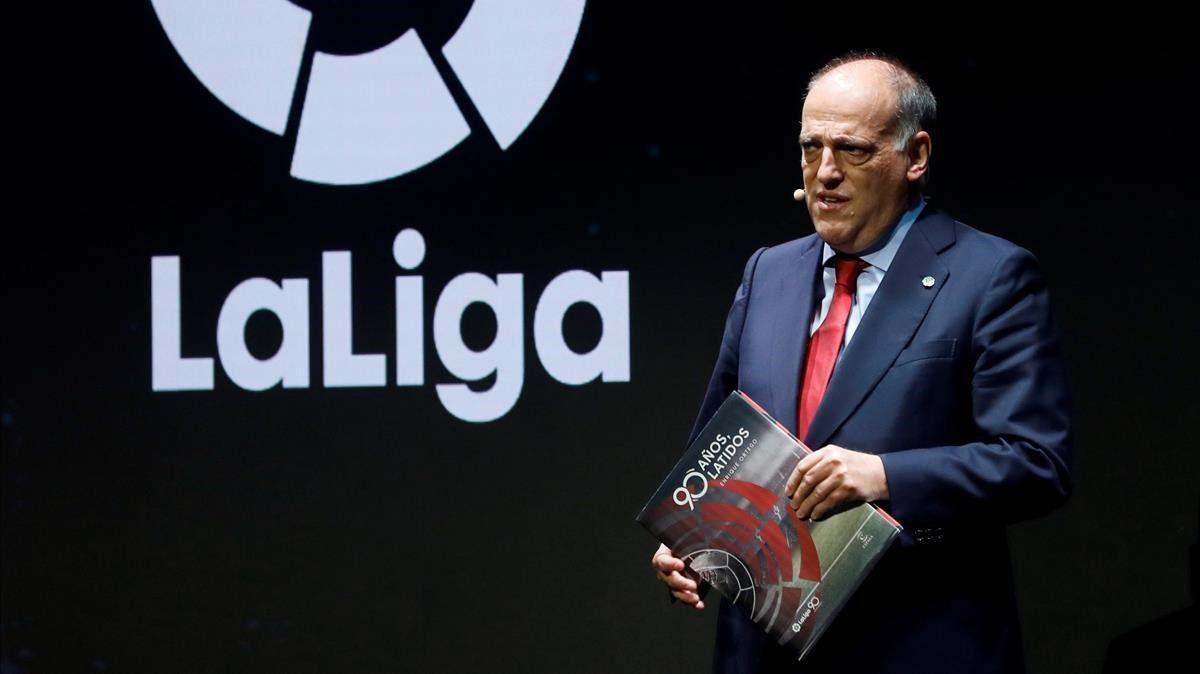 Javier Tebas, en un acto de la Liga en Madrid.