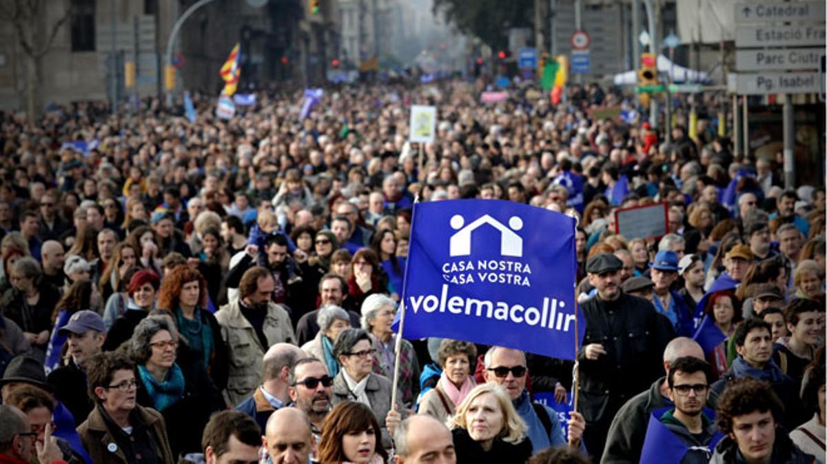 Manifestaciónen Barcelona por la acogida de refugiados.