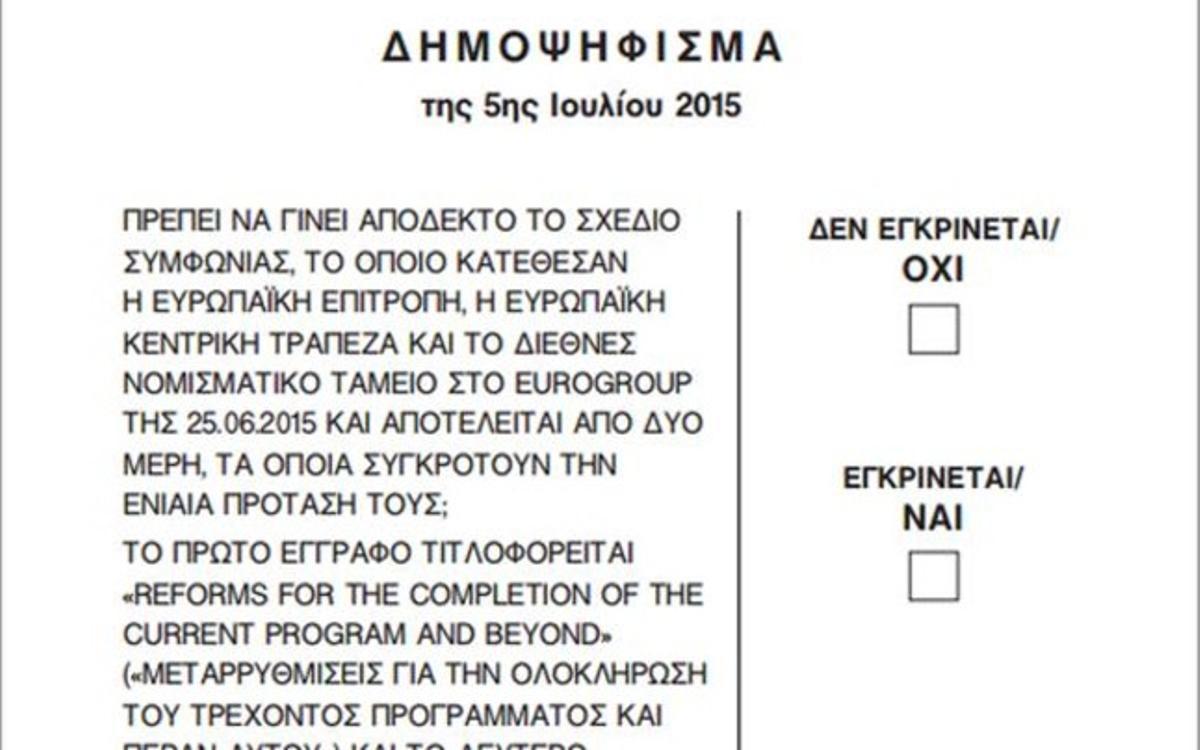 La papeleta con la pregunta del referéndum de Grecia.