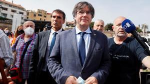 Carles Puigdemont en el Encuentro Internacional de Adifolk, en L'Alguer, el 25 de septiembre, tras su detención.