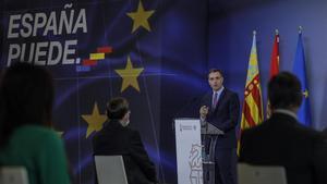 El presidente del Gobierno, Pedro Sánchez, en el acto de presentación del Plan de Recuperación, Transformacion y Resiliencia de la Economía Española, en la Ciutat de les Arts i les Ciencies de Valencia, el pasado 5 de noviembre.
