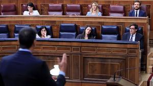 Pedro Sánchez interviene en el Congreso, en la sesión de control al Gobierno del 10 de junio.