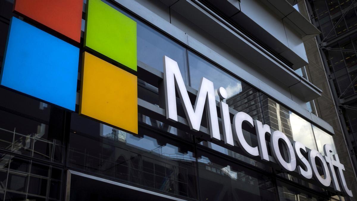 Logo de Microsoft en la oficina de Nueva York.