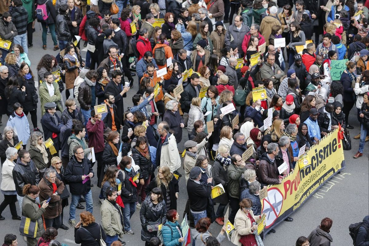 Manifestación contra el racismo, el pasado 19 de marzo en Barcelona