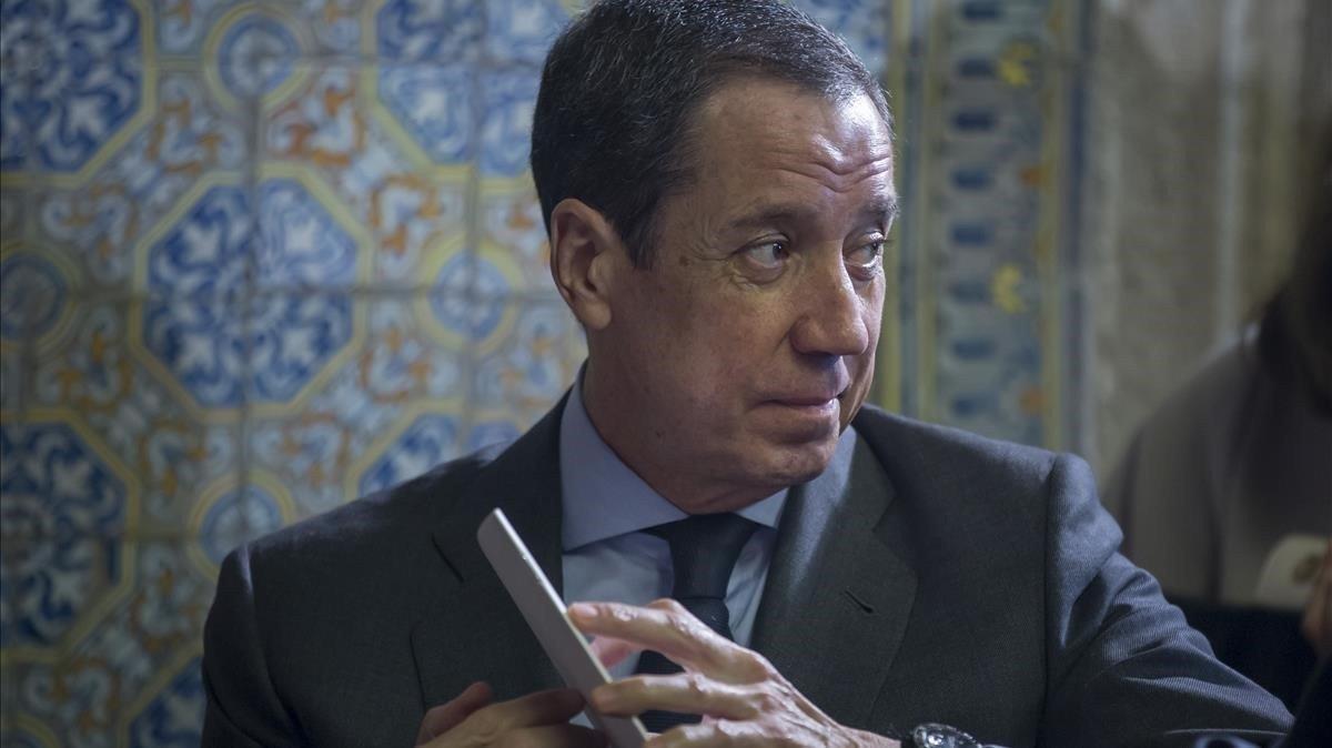 Eduardo Zaplana, el mes de enero, en València.