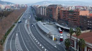 Carriles centrales de la avenida Meridiana a la altura de Can Dragó.