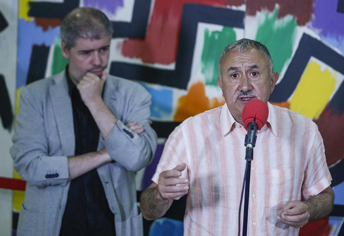 El secretario general de CCOO, Unai Sordo, y el de UGT, Josep Maria Álvarez, en unacto sindical.