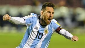 Messi celebra su segundo gol ante Ecuador.