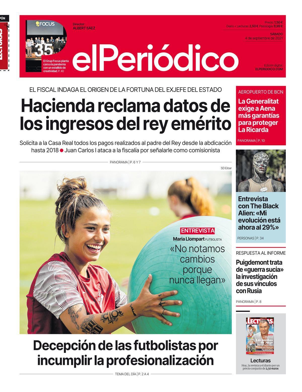La portada de EL PERIÓDICO del 4 de septiembre de 2021