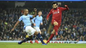 Fernandinho y Salah, en el partido del jueves.