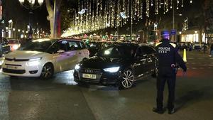 Corte de tráfico en paseo de Gràcia con Diputació, el pasado lunes