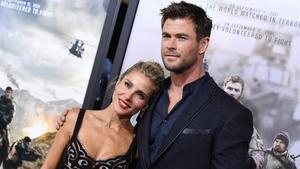 Chris Hemsworth y Elsa Pataky, en la presentación de '12 Strong' en Nueva York, el pasado 16 de enero.