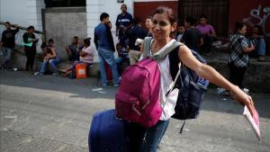 Una refugiada nicaragüense llegando a México.
