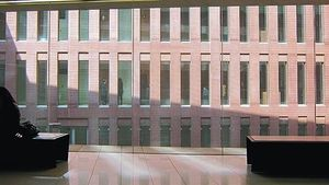 La primera planta de uno de los edificios de la Ciutat de la Justícia, ayer.