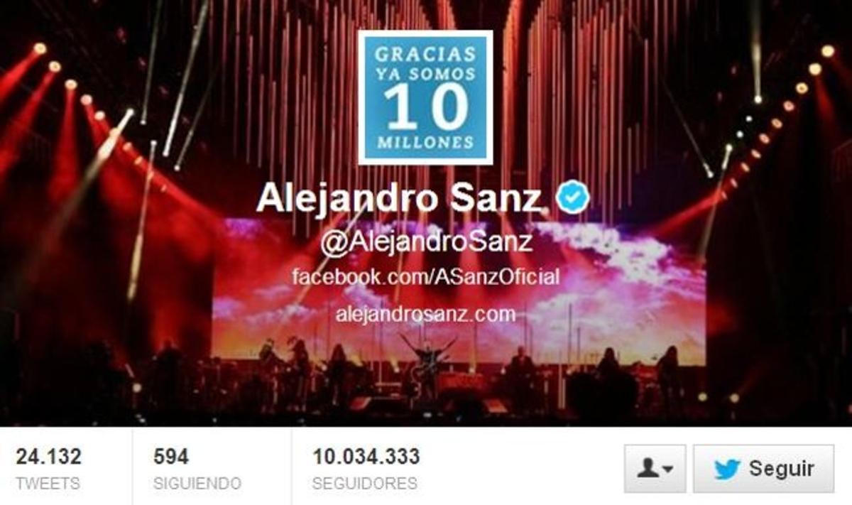 El cantante madrileño Alejandro Sanz es el famoso español con más seguidores.