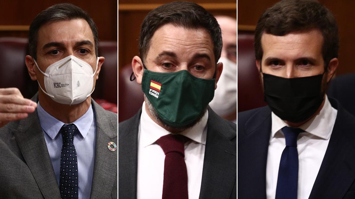 Sánchez a Casado: Es tan moderado que Vox le da lecciones de responsabilidad. En la foto, Pedro Sánchez, Santiago Abascal y Pablo Casado, en sus intervenciones en el Congreso.