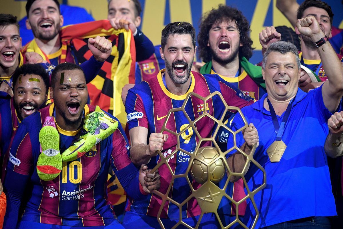 Los azulgranas celebran la Champions en Colonia.