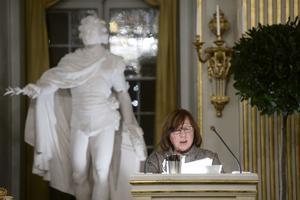 Svetlana Aleksiévich, en su conferencia como Nobel de Literatura en Estocolmo.