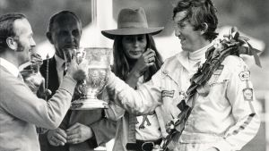 Jochen Rindt, en julio de 1970, después de ganar el Gran Premio Británico de Fórmula Uno.